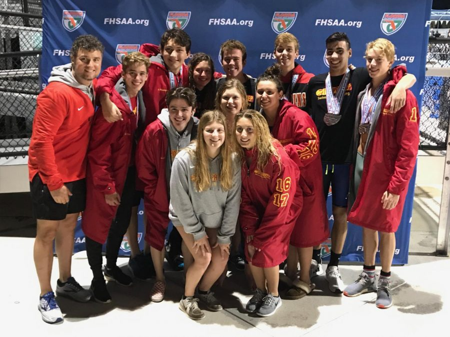 The+swim+and+dive+team+at+the+state+competition+in+Stewart%2C+Florida+