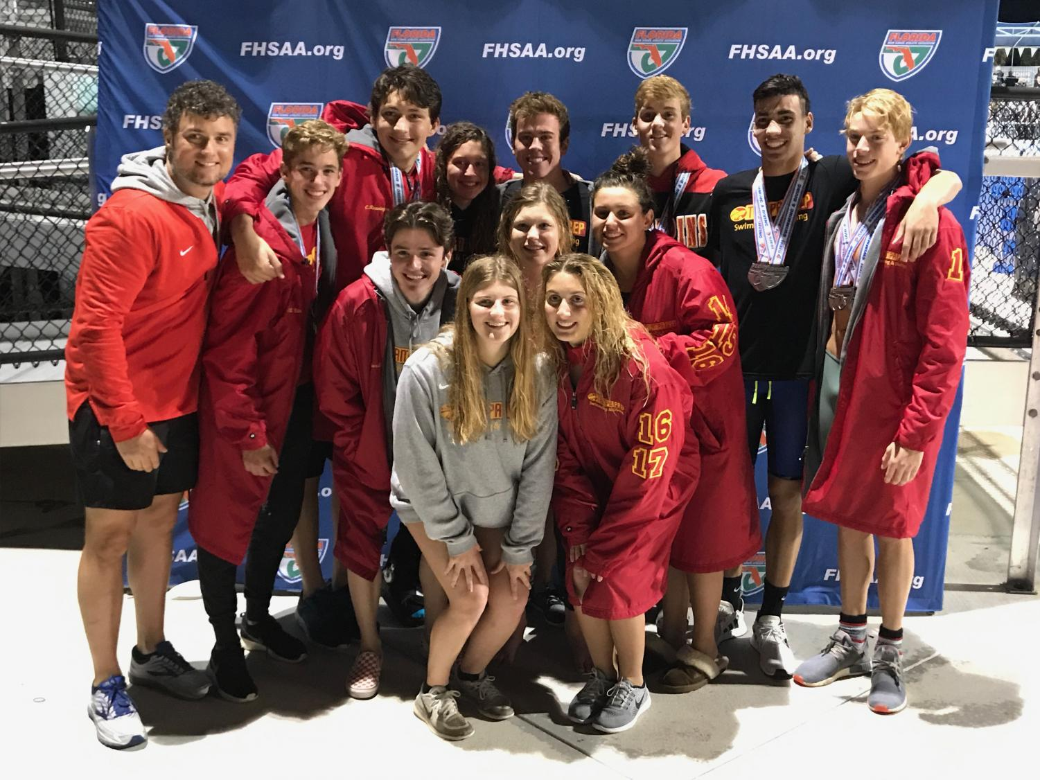 The swim and dive team at the state competition in Stewart, Florida