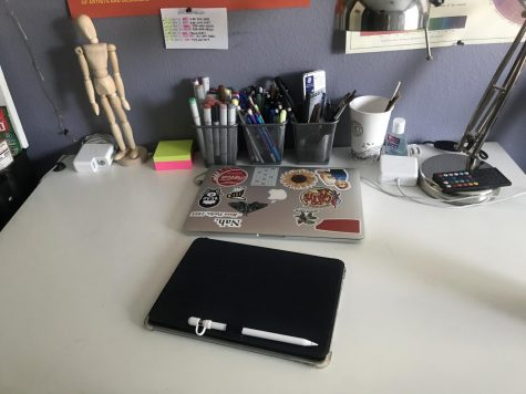 Pictured is Alexis Frorup's ('20) desk at her home where she lives with her grandparents, aunt, cousins, and parents.