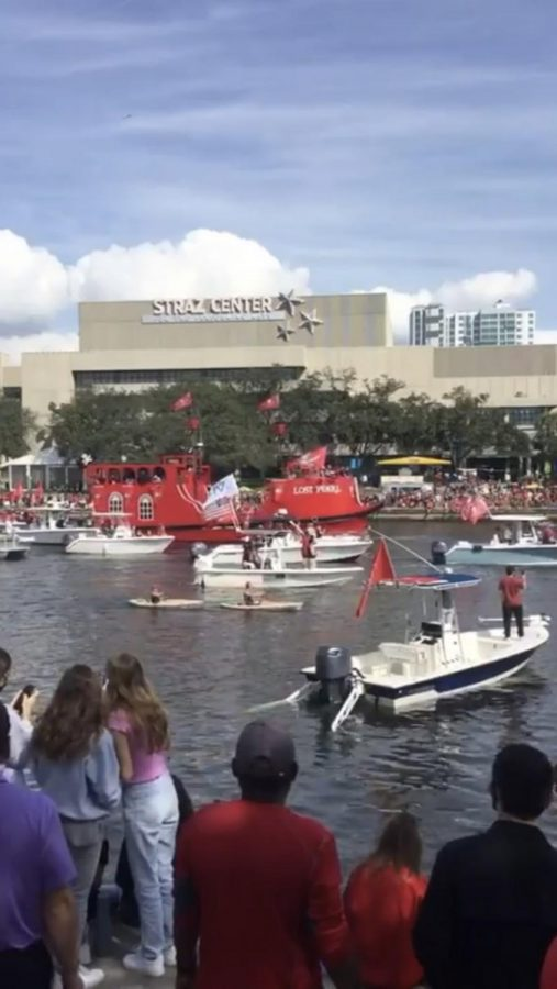 A picture of the boats passing by Tampa Prep's riverbank -photo taken by Tampa Prep