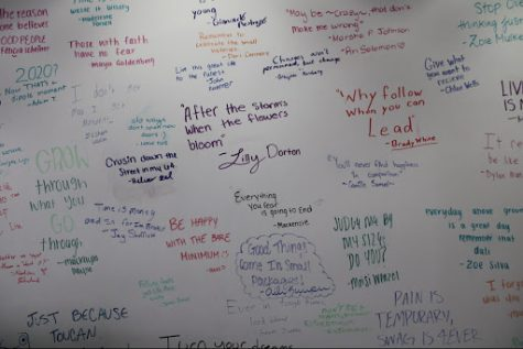 The senior six-word quote wall, photograph taken by Ari Solomon.